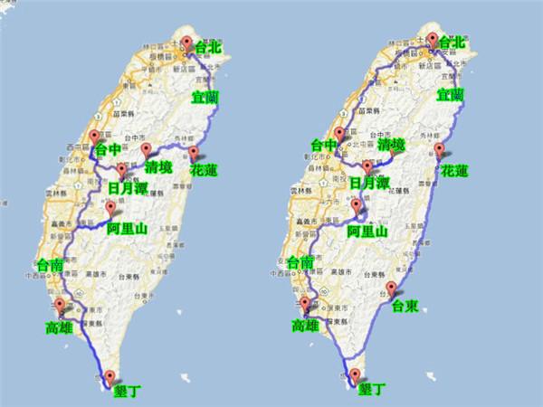 台灣環島包車旅遊7~8天行程